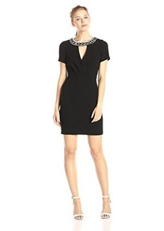 laundry BY SHELLI SEGAL Women's Textured Crepe Short Sleeve Sheath Dress with Embellished Collar, Black, 10