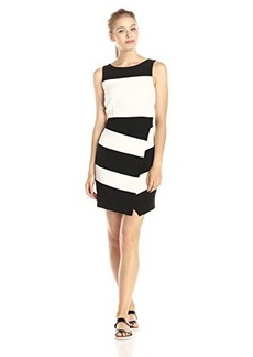 laundry BY SHELLI SEGAL Women's Textures Crepe Stripe Faux Wrap Sleeveless Dress, Black/Multi, 14