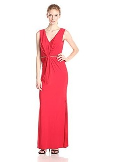 laundry BY SHELLI SEGAL Women's Twist-Front Gown with Metal Belt