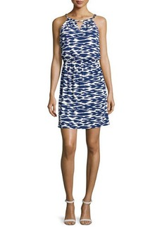 Laundry by Shelli Segal Woven-Chain Neckline Printed Dress, Blueprint Multi