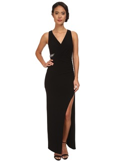 Laundry by Shelli Segal Wrap Front Open Slit Jersey Gown