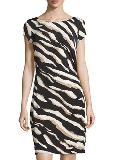 Laundry by Shelli Segal Zebra-Print Short-Sleeve Sheath Dress