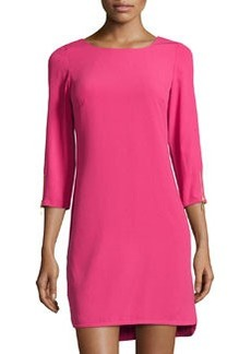 Laundry by Shelli Segal Zip-Cuff 3/4-Sleeve Shift Dress, Power Pink