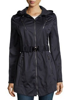 Laundry by Shelli Segal Zip-Front Trenchcoat, Inky Blue