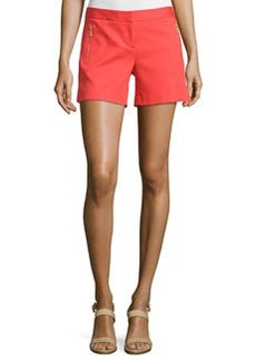 Laundry by Shelli Segal Zip-Pocket Flat-Front Shorts, Hibiscus