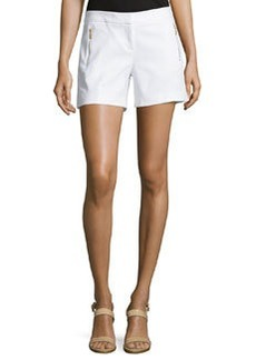 Laundry by Shelli Segal Zip-Pocket Flat-Front Shorts, Optic White