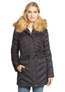 Laundry by Shelli Segal Belted Down & Feather Fill Utility Parka with Faux Fur Trim