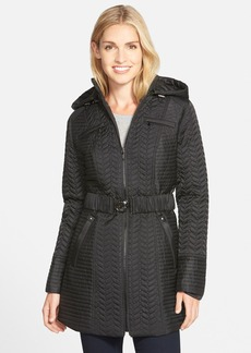 Laundry by Shelli Segal Belted Hooded Quilted Coat