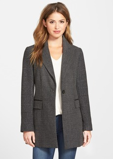 Laundry by Shelli Segal Contrast Sleeve Long Tweed Coat