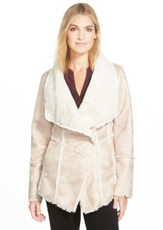 Laundry by Shelli Segal Draped Collar Faux Shearling Coat (Regular & Petite)