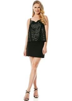 Laundry by Shelli Segal Embellished Chiffon Popover Dress