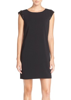 Laundry by Shelli Segal Embellished Sleeve Crepe Shift Dress