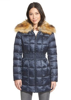 Laundry by Shelli Segal Faux Fur Collar Ruched Waist Down & Feather Fill Coat