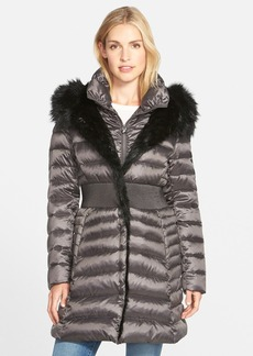 Laundry by Shelli Segal Faux Fur Trim Down & Feather Fill Coat with Inset Bib