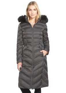 Laundry by Shelli Segal Faux Fur Trim Long Hooded Down & Feather Fill Coat