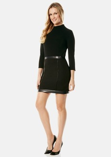 Laundry by Shelli Segal Faux Leather Trim Sheath Dress