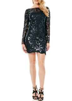 Laundry by Shelli Segal Illusion Sequin Sheath Dress