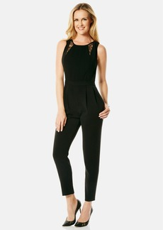 Laundry by Shelli Segal Lace Inset Crepe Jumpsuit
