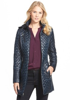 Laundry by Shelli Segal Ruched Waist Quilted Hooded Coat