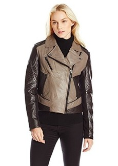 Laundry Women's Two Tone Leather Moto Jacket, Black/Chocolate, X-Small