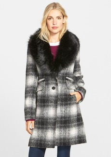 Laundry by Shelli Segal Faux Fur Collar Plaid  Coat