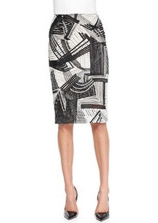 Abstract Embroidered Pencil Skirt   Abstract Embroidered Pencil Skirt