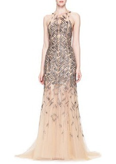 Bead-Embroidered Chiffon Gown   Bead-Embroidered Chiffon Gown