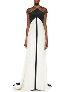 Beaded Sheer-Back Colorblock Gown, Black/Ivory   Beaded Sheer-Back Colorblock Gown, Black/Ivory