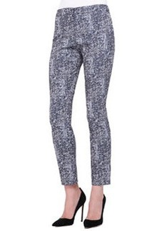 Caroline Tweed-Pattern Cropped Pants   Caroline Tweed-Pattern Cropped Pants