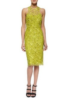 Cutout-Back Floral Lace Sheath Dress, Citrine   Cutout-Back Floral Lace Sheath Dress, Citrine