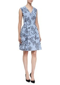 Floral Dress with Hidden Zip Front, Sky Blue   Floral Dress with Hidden Zip Front, Sky Blue