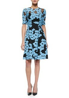 Floral-Embroidered Fit-and-Flare Dress, Black/Blue   Floral-Embroidered Fit-and-Flare Dress, Black/Blue