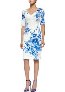 Floral-Print Elbow-Sleeve Sheath Dress, Blue   Floral-Print Elbow-Sleeve Sheath Dress, Blue
