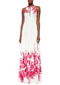 Floral-Print Slit Keyhole Gown, Peony   Floral-Print Slit Keyhole Gown, Peony