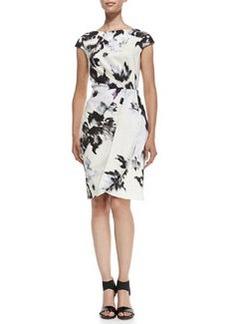 Inkblot-Print Cap-Sleeve Sheath Dress   Inkblot-Print Cap-Sleeve Sheath Dress