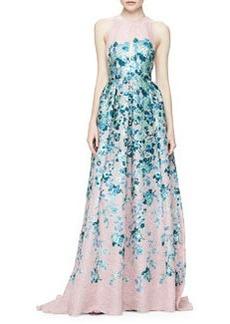 Keyhole Cutout-Back Floral Jacquard Gown, Blush/Blue   Keyhole Cutout-Back Floral Jacquard Gown, Blush/Blue