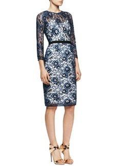 Lela Rose 3/4-Sleeve Belted Lace Dress