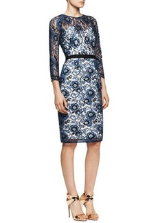 Lela Rose 3/4-Sleeve Belted Lace Dress