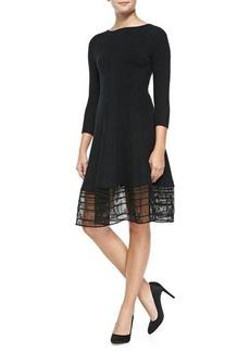Lela Rose 3/4-Sleeve Dress W/ Railroad Lace Hem, Black