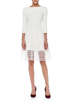 Lela Rose 3/4-Sleeve Dress W/ Railroad Lace Hem, White