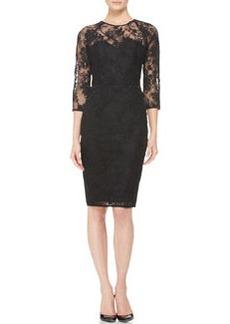 Lela Rose 3/4-Sleeve Lace Dress