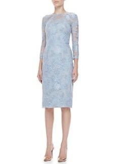 Lela Rose 3/4-Sleeve Lace-Overlay Dress