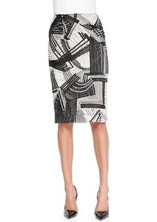 Lela Rose Abstract Embroidered Pencil Skirt  Abstract Embroidered Pencil Skirt