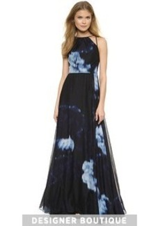 Lela Rose Abstract Print Halter Gown