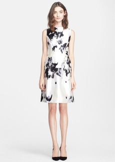 Lela Rose Abstract Print Silk Sheath Dress