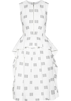 Lela Rose Appliquéd cotton-poplin dress