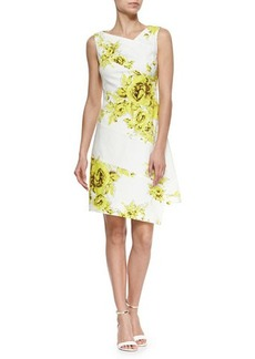 Lela Rose Asymmetric Rose-Print Spiral Dress, Yellow