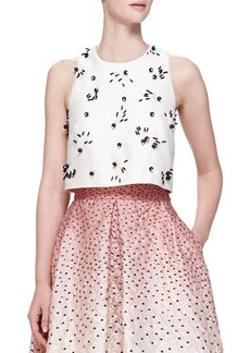 Lela Rose Bead-Applique Boxy Crop Top