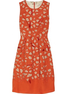Lela Rose Beaded silk cutout dress