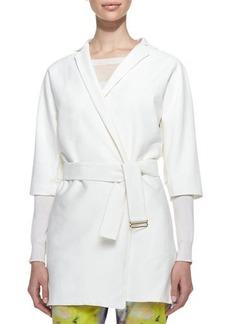 Lela Rose Belted 3/4-Sleeve Trench Jacket, Ivory